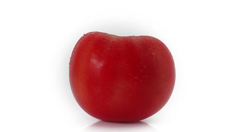 Fresh tomato rotating at white background Footage