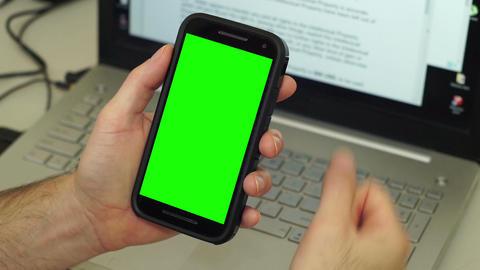 Man Mobile Phone Frustration Greenscreen Desk Footage