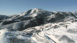 Aerial shot of ski area and luxury homes Footage