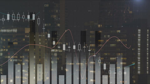 Different graphs and cityscape 4k Animation
