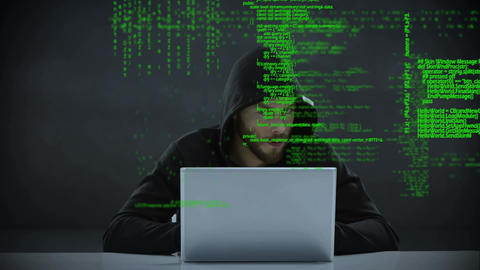 Male hacker using a laptop Animation