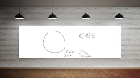 Mathematical equations in a room Animation