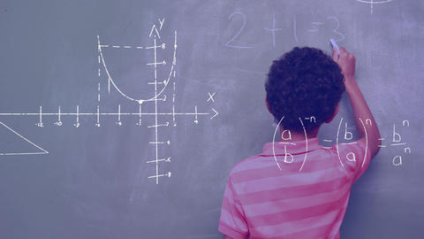 Mathematical equations and boy writing on the board Animation