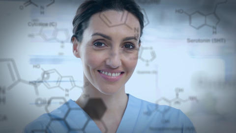Close up of a woman and chemicals bonding Animation