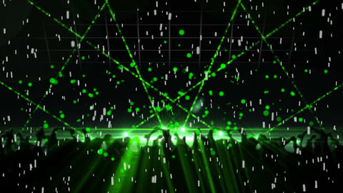 Green laser lights in the disco Animation