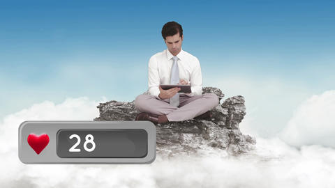 Man sitting on a rock above the clouds Animation