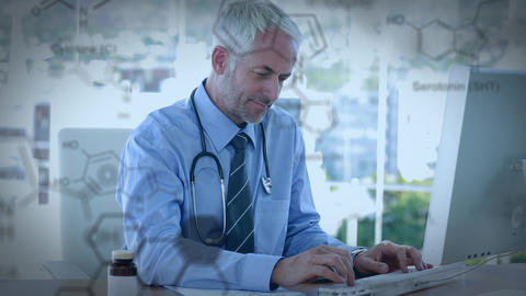 Doctor using a computer and chemical structures Animation