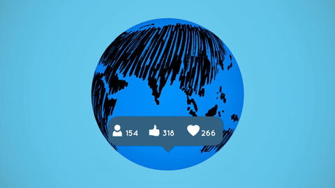 Global social media networking popularity Animation