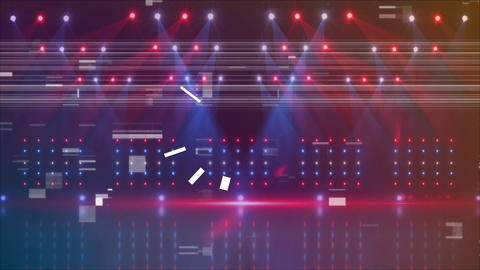 Stage with colorful lights and glitches Animation