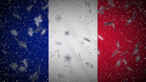 France flag falling snow loopable, New Year and Christmas background, loop Animation