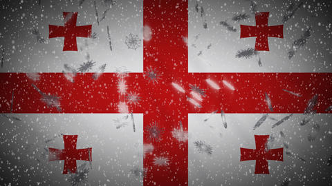Georgia flag falling snow loopable, New Year and Christmas background, loop Animation