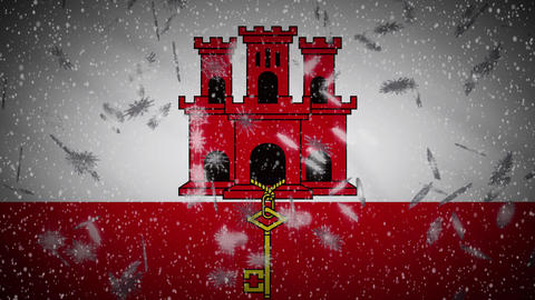 Gibraltar flag falling snow loopable, New Year and Christmas background, loop Animation