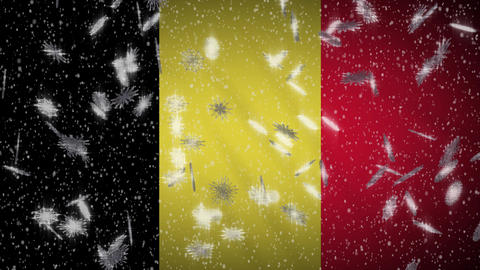 Belgium flag falling snow loopable, New Year and Christmas background, loop Animation