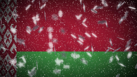 Belarusian flag falling snow loopable, New Year and Christmas background, loop Animation