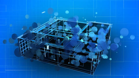 House structure 3D blueprint Animation