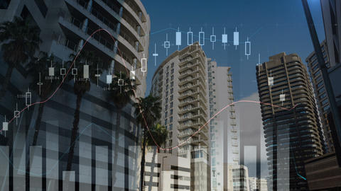 Graphs moving in the screen with a background of buildings Animation