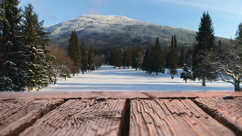 Wooden deck and a snowy field 4k Animation