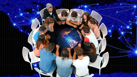 Group of people seated in a circle table Animation