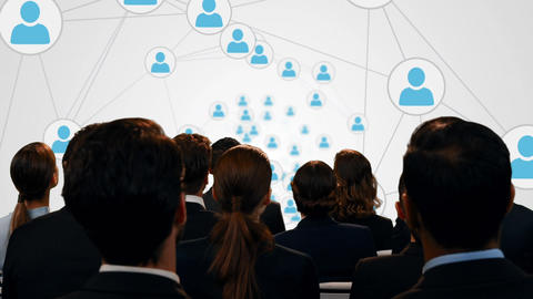 Business people watching profile icons Animation