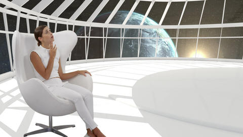 Woman sitting in a white room Animation