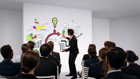 Businessman discussing presentation to colleagues Animation