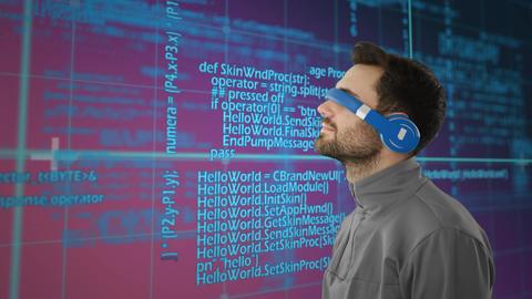 Man wearing virtual goggles Animation