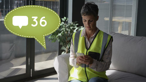 Woman wearing a safety vest texting on her phone 4k Animation