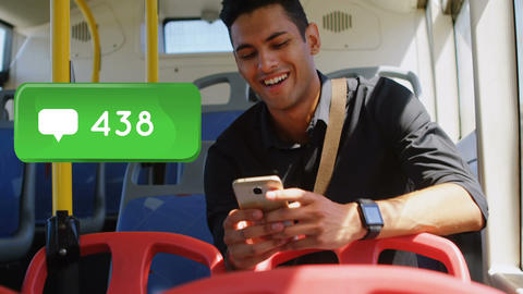 Man riding a bus smiling while checking his phone 4k Animation