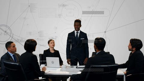 Business people discussing in an office Animation
