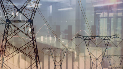 Transmission towers 4k Animation