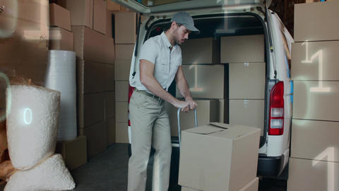 Deliveryman loading packages in a delivery van Animation
