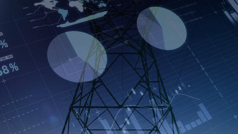 Graphs and statistics on transmission towers 4k Animation