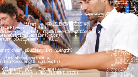 Warehouse managers checking on inventory Animation
