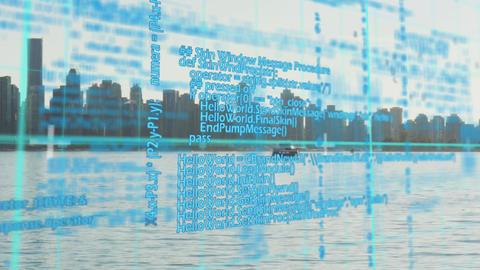 Program codes and city harbor Animation