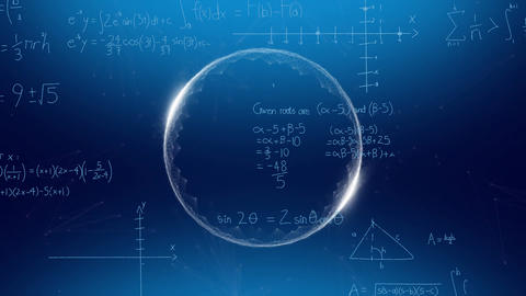 Glowing sphere and mathematical equations Animation