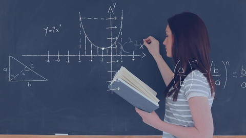 Female student writing a mathematical equation on the board Animation