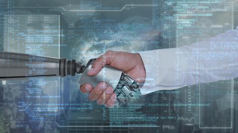 Robotic hand and human hand CG動画
