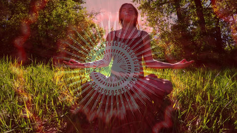 Woman meditating in the forest Animation