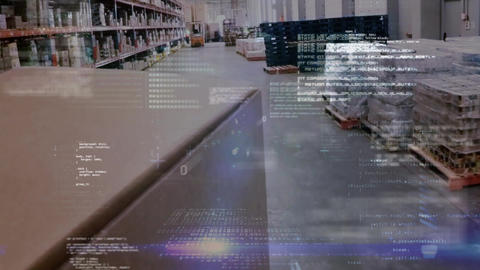Program codes in a warehouse Animation