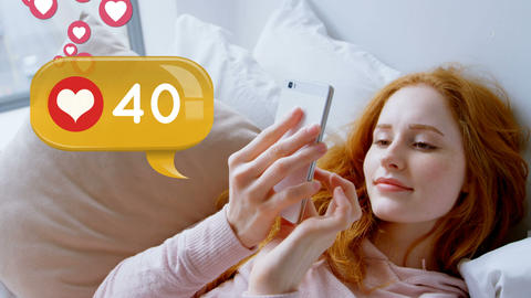 Woman lying in bed while browsing on her phone 4k Animation