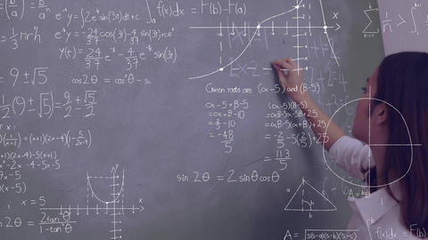 Woman writing on a chalkboard Animation