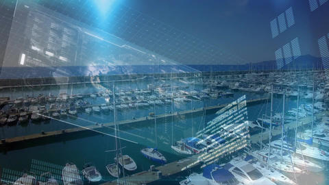 Yachts in a port and digital interface Animation