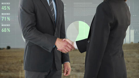 Business people shaking hands 4k Animation