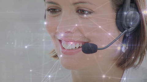 Call centre agent and lines connected Animation