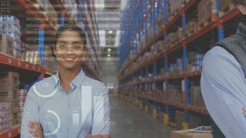 Warehouse managers smiling 4k Animation