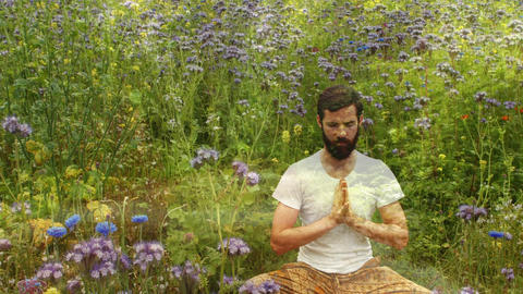 Man Meditating in the garden Animation