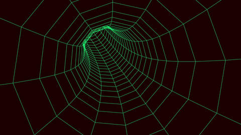 abstact network tunnel grid, 4K, green and black seamless loop. Network cyber technology. Futuristic Animation