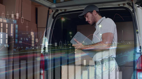 Deliveryman checking on packages Animation