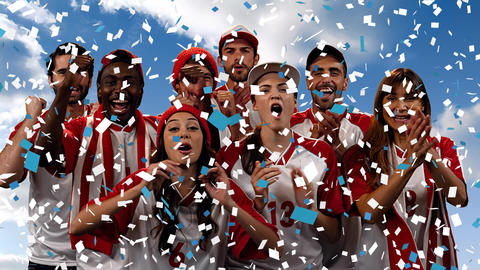Group of fans cheering for their team with confetti Animation