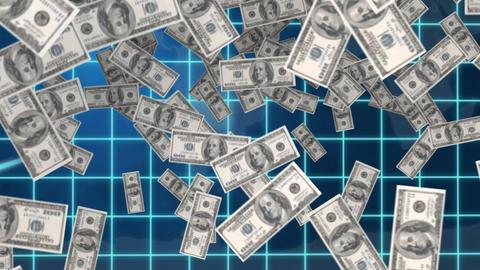 Dollar bills inside vault Animation